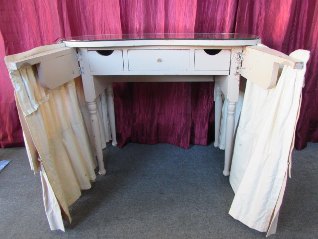 ... VINTAGE 3-DRAWER DRESSING TABLE VANITY WITH FABRIC SKIRT-READY FOR YOUR  PRINCESS ... - Lot Detail - VINTAGE 3-DRAWER DRESSING TABLE VANITY WITH FABRIC