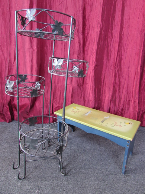 Lot Detail Metal Plant Stand And Darling Stepstool With