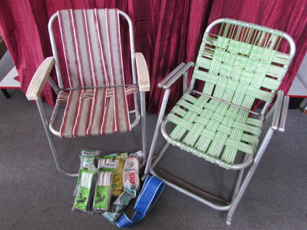 VINTAGE ALUMINUM FOLDING LAWN CHAIR U0026 ROCKING CHAIRS WITH LOADS OF  REPLACEMENT WEBBING ...