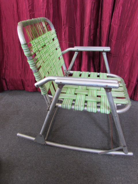 ... VINTAGE ALUMINUM FOLDING LAWN CHAIR U0026 ROCKING CHAIRS WITH LOADS OF  REPLACEMENT WEBBING