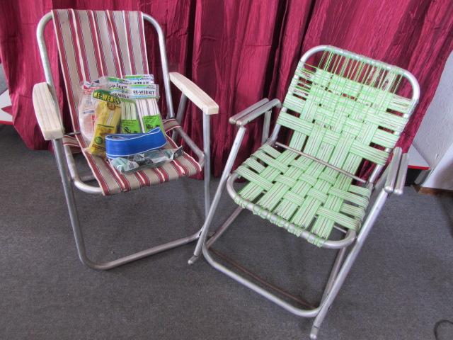 Lot Detail Vintage Aluminum Folding Lawn Chair Amp Rocking