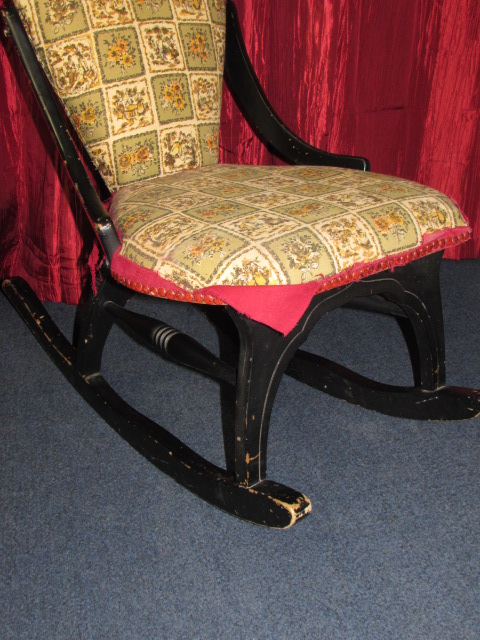 lot detail charming antique upholstered rocking chair. Black Bedroom Furniture Sets. Home Design Ideas