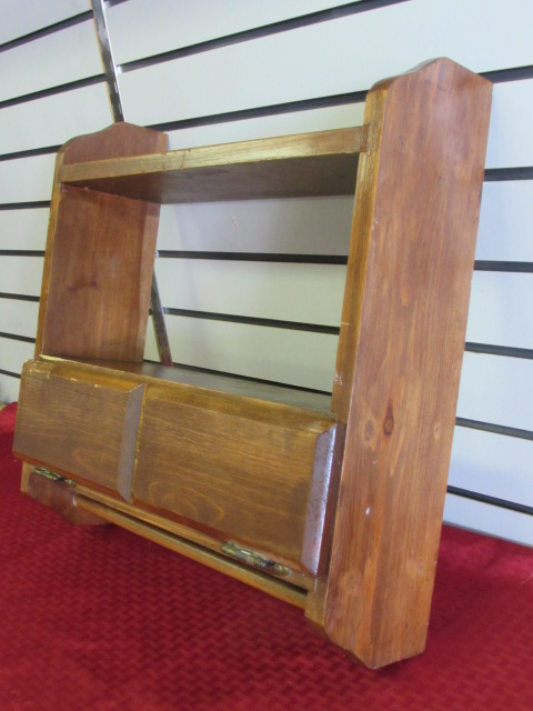 Lot Detail Wood Wall Shelf With Room For Knick Knacks Beauty Products Even To Hang A Towel