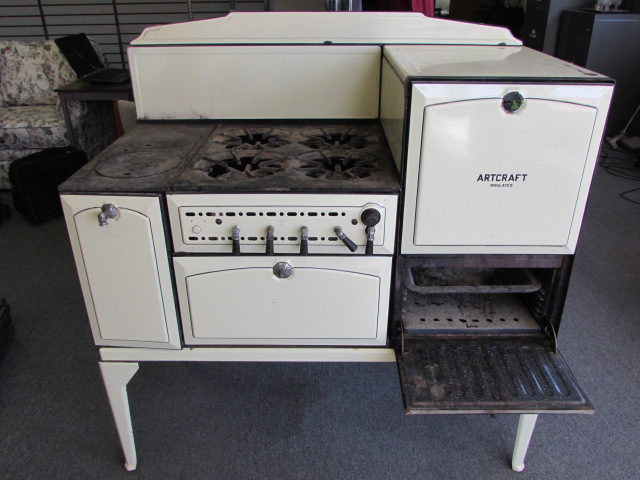WONDERFUL ANTIQUE ENAMELED GAS/WOOD COOK STOVE ...
