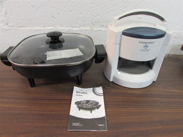 Lot Detail Electric Frying Pan With Lid Amp Lid Opener
