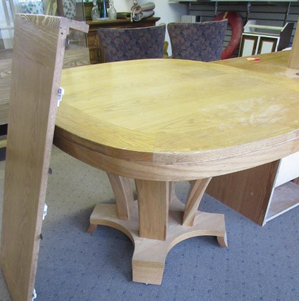 Lot detail nice solid wood dining room table w leaf - All wood dining room table ...