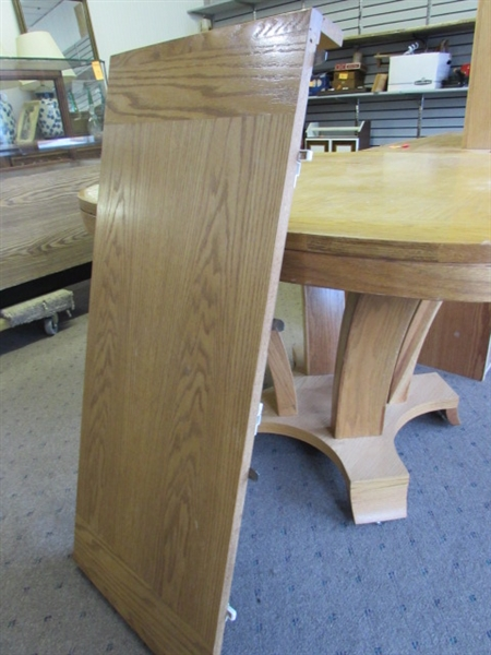 Lot detail nice solid wood dining room table w leaf for Nice wood dining table