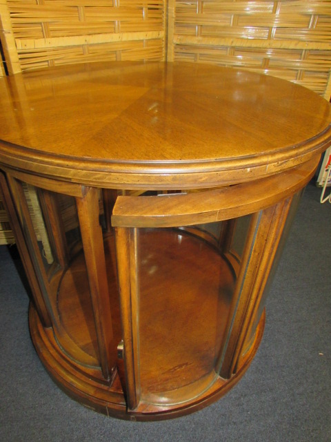 lot detail wood with glass round end table. Black Bedroom Furniture Sets. Home Design Ideas