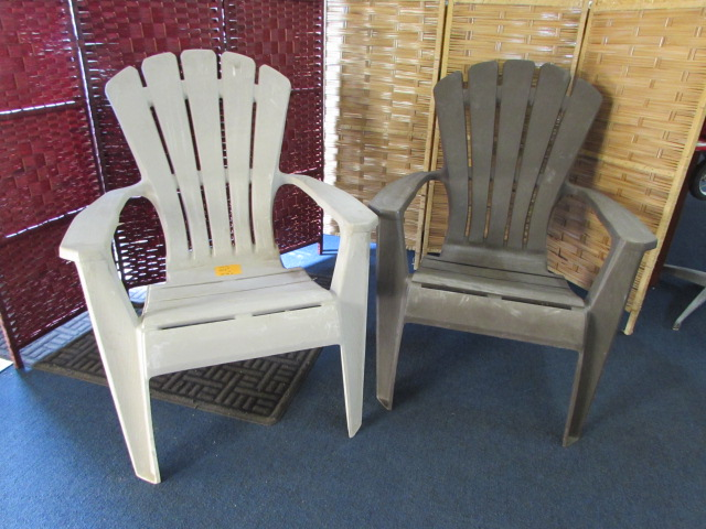 lot detail 2 plastic adirondack outdoor chairs. Black Bedroom Furniture Sets. Home Design Ideas