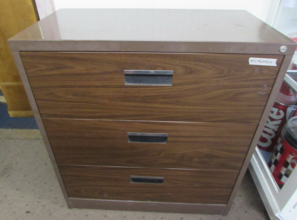 Heavy Duty Metal Filing Cabinet With Faux Wood Grain Drawer Fronts