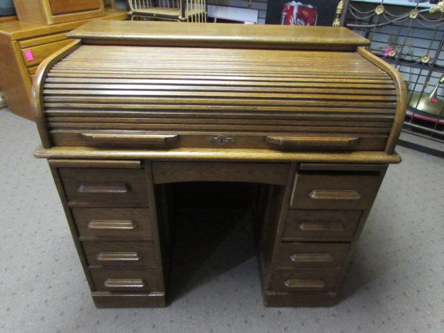 Lot Detail Antique Solid Oak Roll Top Desk