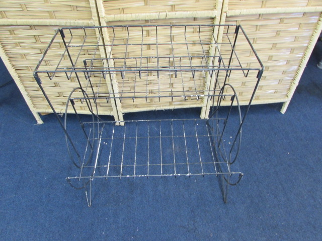 Lot Detail - MID CENTURY MODERN WIRE PLANT STAND, BASKETS & MORE