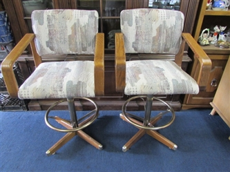 TWO UPHOLSTERED BAR STOOLS
