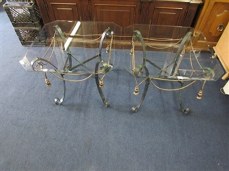 TWO BEAUTIFUL WROUGHT IRON & GLASS TABLES