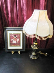 BRASS LAMP & PICTURE