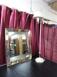 VINTAGE METAL FLOOR LAMP & MIRROR