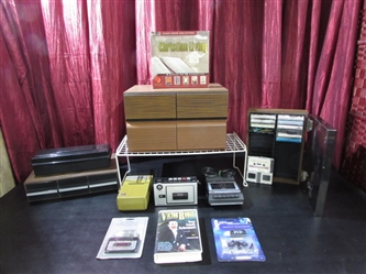 VINTAGE CASSETTE PLAYERS, CASSETTE & VHS HOLDERS & MORE