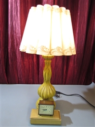 VINTAGE LAMP, CLOCK AND BOX
