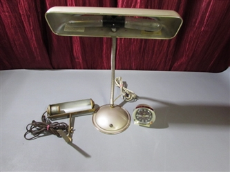 VINTAGE LAMPS AND CLOCK