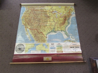 VINTAGE CRAMS PHYSICAL-POLITICAL PULL-DOWN SCHOOLHOUSE MAP