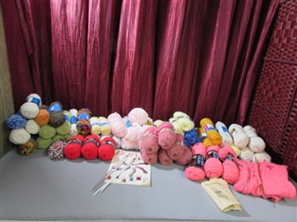 HUGE LOT OF VINTAGE WOOL & ACRYLIC YARN