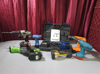 CORDLESS DRILLS, A RECIPROCATING SAW & FLASHLIGHT