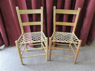 A PAIR OF PRIMITIVE WOOD/RAWHIDE SIDE CHAIRS