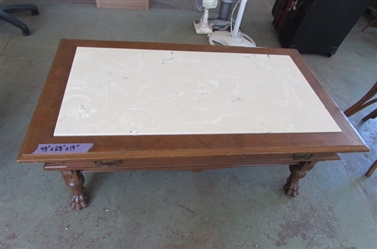 BEAUTIFUL VINTAGE COFFEE TABLE WITH MARBLE TOP