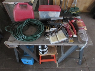 GARAGE LOT - SAWHORSES, GAS CAN, PAINT BRUSHES & MORE