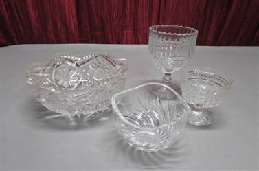 LEAD CRYSTAL SAWTOOTH EDGED BOWL & MORE