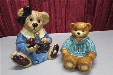 BOYDS BEAR COOKIE JAR AND DISH