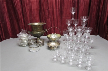 CRYSTAL STEMWARE AND SILVER PLATED VESSELS