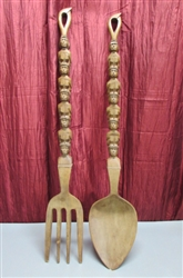 LARGE HAND-CARVED WOODEN TOTEM FORK & SPOON