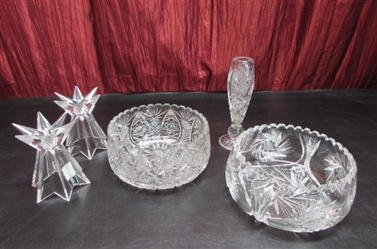 BEAUTIFUL LEAD CRYSTAL BOWL, VASE & CANDLE HOLDERS