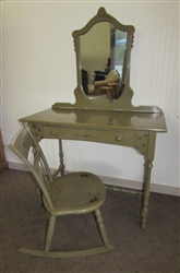 ANTIQUE ARTS & CRAFTS STYLE VANITY WITH ATTACHED MIRROR AND MATCHING ROCKER