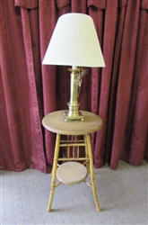 BAMBOO/WOVEN REED TOP ACCENT TABLE & BRASS TABLE LAMP