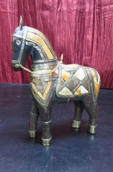CARVED WOOD ARABIAN HORSE WITH BRASS COPPER & BONE INLAY