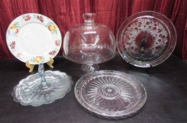 PEDESTAL CAKE PLATE WITH DOMED LID, PLATTERS & HANDLED SERVING DISH