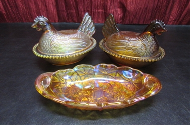 2 AMBER CARNIVAL GLASS CHICKEN COVERED CANDY DISHES AND RELISH DISH