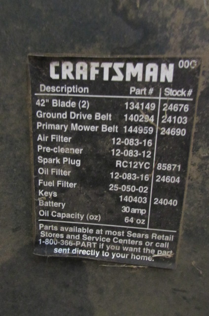 Lot Detail - CRAFTSMAN LT1000 RIDING LAWNMOWER WITH 42